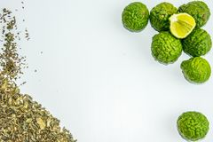 Bergamot fruit and tea. Citrus bergamia, the bergamot orange is a fragrant citrus with a yellow or green color. Similar to a lime royalty free stock image