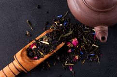 Bergamot green tea. On a black graphite tea stock photos