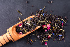 Bergamot green tea. On a black graphite tea stock photo