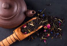Bergamot green tea. On a black graphite tea stock photography