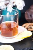 Bergamot green tea. And blossom apricot on table stock images