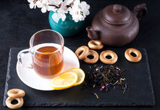 Bergamot green tea. And blossom apricot on table stock photography
