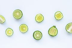 Bergamot kaffir lime herb fresh. On white royalty free stock photography