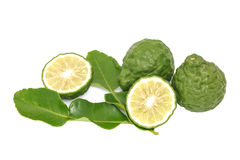 Bergamot kaffir lime leaves herb fresh ingredient isolated Stock Image