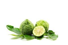 Bergamot. And kaffir lime leaves on white background royalty free stock photos