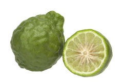 Bergamot. Kaffir Lime on white background Royalty Free Stock Images