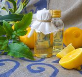 Bergamot oil. A bottle of bergamot oil. Bergamot fruits in the background royalty free stock image