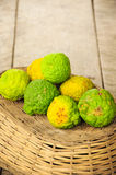 Bergamot. An oily substance extracted from the rind of the fruit of a dwarf variety of the Seville orange tree. It is used in cosmetics and as flavoring in tea Stock Image