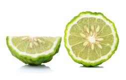 Bergamot slice  on white background Stock Images