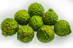 Bergamot on the white background. Citrus bergamia, the bergamot orange is a fragrant citrus stock photography