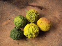 Bergamot on wood background. Close up stock photo