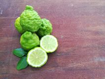Bergamot on wood background. Thai herb and healthy stock images