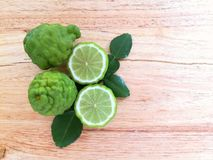Bergamot on wood background. Thai herb and healthy stock photos