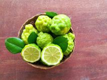 Bergamot on wood background. Thai herb and healthy stock image