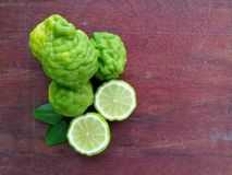Bergamot on wood background. Thai herb and healthy royalty free stock images