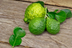 Bergamot. Bergamot on wooden background stock images