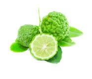 Bergamotowa owoc z liściem na białym tle Obrazy Stock