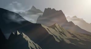 Bergbakgrundsillustration Arkivfoton
