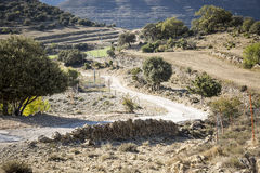 Bergbana i bygden i Olocau del Rei, Castellà ³ n, Spanien royaltyfri foto