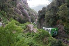 Bergbana i Montserrat Arkivfoto
