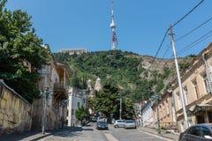 Bergbana komplexa Tbilisi Georgia Europe Fotografering för Bildbyråer