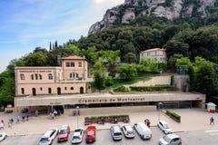 Bergbanastation på den Santa Maria de Montserrat abbotskloster, Catalonia, Spanien Royaltyfria Foton