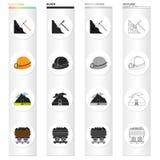 Bergbau, Ausrüstung, Werkzeuge und andere Netzikone in der Karikaturart Fossil, Ökologie, Industrie, Ikonen in der Satzsammlung Stockfotografie