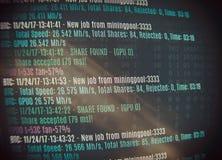 Bergbau cryptocurrency Hintergrund Bitcoin Stockfotos