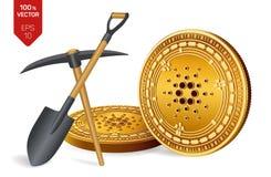 Bergbaukonzept Cardano isometrische körperliche Münze des Stückchen 3D mit Hacke und Schaufel Digital-Währung Cryptocurrency Gold lizenzfreie abbildung