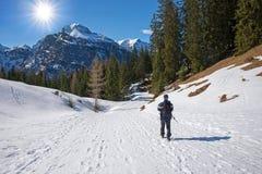 Bergbeklimmer bij de winter wandelingssleep, tirolean landschap Oostenrijk stock fotografie