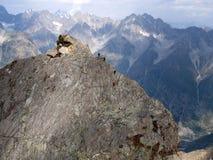 Bergbeklimmers op een waaier Royalty-vrije Stock Foto