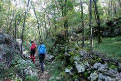 Bergbeklimmers op Grobnicke Alpe royalty-vrije stock fotografie