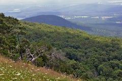 Bergbeklimming en Hang Gliding-gebied bij Ondersteltijdschrift stock foto