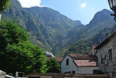 Bergblick der alten Stadt der Festung der Stange in Montenegro an einem sonnigen Sommertag Sehr besichtigter Platz durch Touriste Stockfotografie