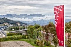 Bergblick vom Olympiapark Stockfoto