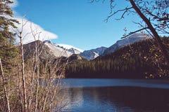 Bergbovenkant met Meer royalty-vrije stock afbeelding
