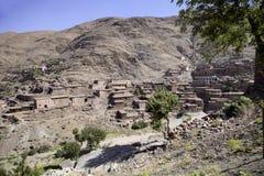 Bergby med lerahus, Marocko Royaltyfri Bild