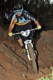Bergcyklist Barel Fabien - Enduro racerbil Fotografering för Bildbyråer
