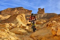 Bergcyklist i en öken Royaltyfria Foton