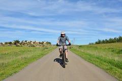 Bergcyklist på en väg Arkivbild