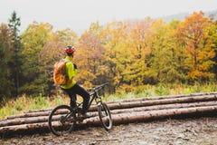 Bergcyklist som ser inspirerande skoglandskap Arkivbilder