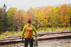 Bergcyklist som ser inspirerande skoglandskap Arkivbild