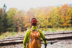 Bergcyklist som ser inspirerande skoglandskap Royaltyfria Foton