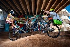 Bergcyklister som gör wheeliejippo på en mtbcykel Arkivfoto