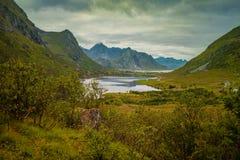 Bergdal med fjorden i regnig dag Royaltyfri Fotografi