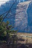 Bergdalrörledning som går över ett brant berg royaltyfria bilder