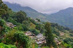 Bergdorf in Grandruk, Nepal stockbild