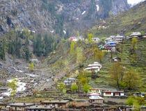 Bergdorp in de vallei van Naran Kaghan, Pakistan Royalty-vrije Stock Fotografie