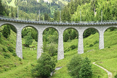 Bergdrevviadukt i de schweiziska fjällängarna Royaltyfria Foton