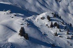Berge bedeckt mit Schnee und Wolken und Bäume lizenzfreie stockbilder